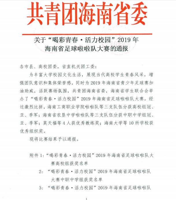 """关于""""喝彩青春 活力校园""""2019年海南省足球啦啦队大赛的通报"""